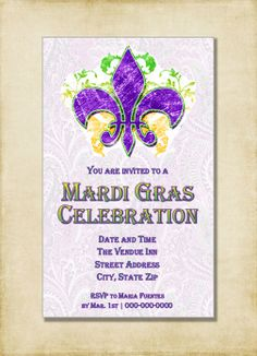 Mardi Gras Party Invitation- Purple Yellow Green Mardi Gras Celebration, Modern Invitation, Mardi Gras Ball (Printable Instant Download)