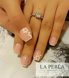 best ideas for nails french pedicure pink Fabulous Nails, Gorgeous Nails, Pretty Nails, Nail Manicure, Toe Nails, Manicure Ideas, Bridal Nail Art, Bride Nails, Nagellack Trends