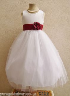 White Apple Red Sash Tulle Bridal Party Pageant Recital Gown Flower Girl Dress | eBay