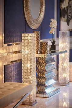 Make your room sparkle with this brilliant Crystal Tower floor lamp. Featuring dazzling circular crystal beads that encase the lighting element, this dimmable lamp is like jewelry for your home, adding elegance and refinement. Add a splash Glam Living Room, Elegant Living Room, Glam Room, Elegant Home Decor, Elegant Homes, Living Rooms, Living Area, Living Spaces, Decoration Vitrine