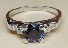 Vintage Antique 1.12ct Blue Sapphire Diamond by DiamondAddiction
