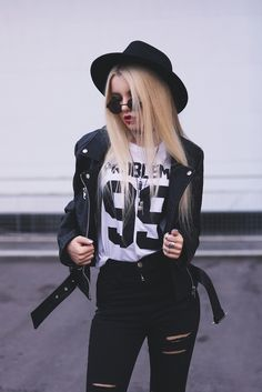 "Biker Jacket, Top ""99 Problems"", Black Ripped Knee Jeans, Set of Rings, 3 Set of Chokers & Round Glasses"
