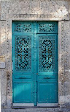 ♅ Detailed Doors to Drool Over ♅ art photographs of door knockers, hardware & portals - Turquoise Door - France. Almost a TARDIS door