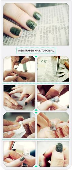 "Newspaper Nail Tutorial (I guess it works with other color too, I'll have to try that...) maybe for valentines day I can find ""Love"" written over and over again!"""