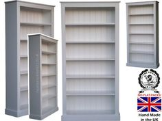 Pine Bookcase Fully White Painted 6ft X 3ft 100 Solid Wood Shelving With