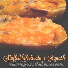 Cheesy Curried Mushroom Stuffed Delicata Squash