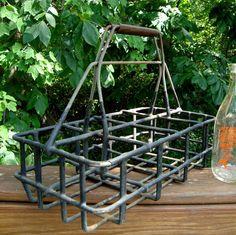 Milk Bottle Carrier Vintage Metal Caddy Dairy or by ThreeOldKeys