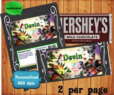 Plants Vs. Zombies Candy Bar Wrapper is a printable digital file that will be sent to you within 24 hs after you purchase and provide us the necessary information to customize your order.  Each wrapper is measured in 5.25 x 5.5, fitting perfectly a 1.55 oz Hershey´s Chocolat Bar.  We will also provide a full page layout with 2 wrappers different per sheet, ready to download and print!  All files are 300 dpi´s .jpeg and pdf.  Please note that this is not a physical purchase and no wrapper…