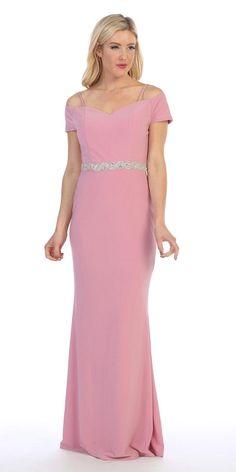 6e90f84e39c Celavie 6292 Navy Blue Off Shoulder Evening Gown Appliqued Waist Off  Shoulder Evening Gown