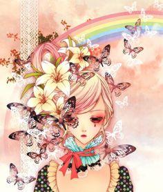 girl anime art illustration