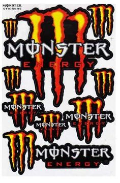 Monster Energy Graphic Racing Sticker Decal Motorcycle ATV 1 Sheet Red/Yellow ME001