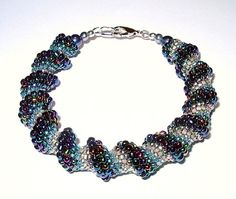 Teal Blue Cellini Spiral Beadwoven Bracelet Hand by CalicoJewels, $65.00
