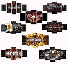 5pcs-Motor-Harley-Davidson-Fahrer-Painting-oil-Canvas-Wand-Kunst-Haus-Dekorativ