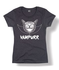 0c71a1192c05 Heather Charcoal  Vampurr  Cat Fitted Tee - Women. Graphic Tee ShirtsCat ...