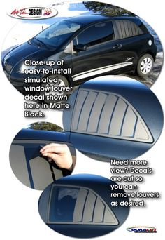 Simulated Window Louver Decal Kit 1 for Toyota Yaris Liftback Car Decals, Matte Black, Toyota, Windows, Kit, Stickers, Ford Mondeo, Car Decal, Sticker