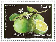 Grapefruit scented postage stamp from French Polynesia