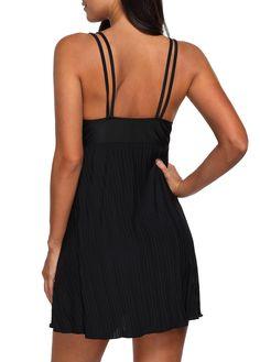 Spaghetti Strap Open Back Swimdress and Black Panty | Rosewe.com - USD $29.93
