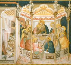 Pietro Lorenzetti : Scenes from the Passion of Christ 3: The Last Supper (Basilica di San Francesco d'Assisi  (Italy - Assisi)) 1280-1348 ピエトロ・ロレンツェッティ