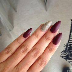 Burgundy and golf stiletto nails
