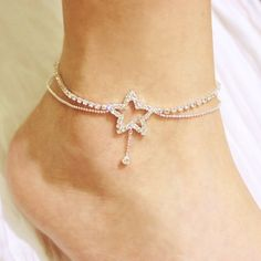 Bridal Sexy Crystal Star Shape w/Dangling Double Chains Fashion Design - Anklet - Ideas of Anklet - Bridal Sexy Crystal Star Shape w/Dangling Double Chains Fashion Design Anklets Ankle Jewelry, Cute Jewelry, Body Jewelry, Turquoise Jewelry, Silver Jewelry, Silver Pendants, Silver Ring, Anklet Bracelet, Bracelets