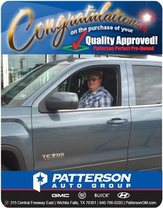 Congratulations to Chois Bowers on his 2014 GMC 1500! - From Brandon Hay at Patterson GMC Cadillac Buick Hyundai