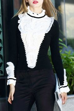 Lace Spliced Stand Neck Long Sleeve Sweater