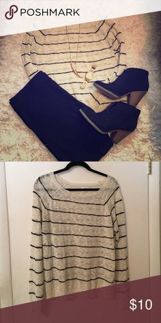 Nordstrom Abound Striped Sweater Excellent condition. Throw on with leggings or jeans. Needs a cami underneath as it is a kind of sheer light sweater. Soo darling! Size XL but could fit a medium or large depending on how loose you want it to hang. abound Sweaters Crew & Scoop Necks