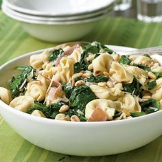 Tuscan salad - cheese tortellini, wilted spinach greens, pine nuts, prosciutto. One of our favs.
