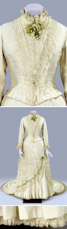 Wedding dress, possibly Dutch, ca. 1880-85.  Train of white cloth, lace, and wax orange blossoms. Two pieces. Stand-up collar; deep vertical pleats in skirt. Bustle. Rijksmuseum