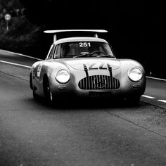 Mercedes Benz  A true Legend in the wild! The '24 hours of Le Mans' Winner from 1952 on the road in Italy: the 300 SL Racer W194 with aerodynamic brake during Mille Miglia 2014