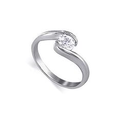 Sterling Silver Jewelry | Silver Round Solitaire Clear CZ Promise Band Ring # LWRS048