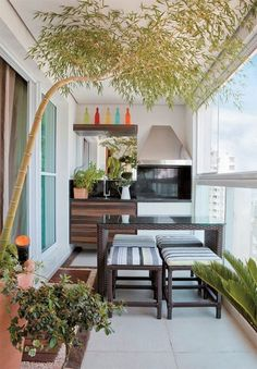 If you really want it you can do a lot on your balcony; even growing a tree. Give that spacious look on your balcony by getting simplistic furniture and avoiding over designed shelves and chairs. The simpler they look the cleaner vibe they give.