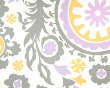 Suzani Fabric / Grey Yellow Purple Suzani Upholstery or Drapery Cotton Fabric