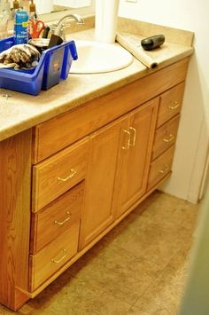 To redo the bathroom vanity. Excellent step by step instructions with product information!