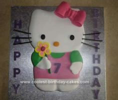 This Hello Kitty Cake Idea was a spongecake sandwiched together with vanilla buttercream and raspberry jam which I made for my goddaughter's 7th birthday...