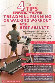 Treadmill workouts don't have to be boring! Follow along with our top tips to make each session on your treadmill intentional, effective, and more fun. #sunnyhealthfitness #treadmill #treadmillworkouts #treadmillworkout Treadmill Routine, Running On Treadmill, Treadmill Workouts, Health And Fitness Articles, You Fitness, Health And Wellness, Health Fitness, Training Schedule, Workout Schedule