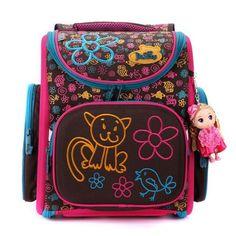 Delune School Bags Children Burden Reducing School Backpacks Nylon Material Dog Pattern Backpack For Girl
