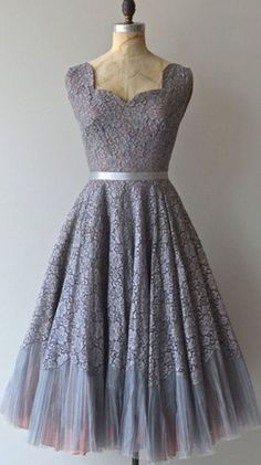 Gray Simple A-line Scalloped Short Silver Lace Bridesmaid Prom Dress,flower dress BD1705127
