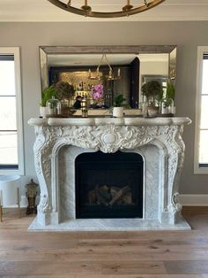 BEAUTIFUL FRENCH STYLE ESTATE CARRARA MARBLE FIREPLACE MANTEL - JX61 Marble Fireplace Mantel, Marble Fireplaces, Fireplace Mantels, Carrara Marble, French Style, Beautiful, Home Decor, Decoration Home, Room Decor
