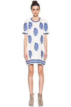 Isabel Marant Etoile Daryl Embroidered Noil Silk Dress in Ecru
