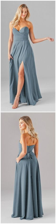 A stunning strapless chiffon bridesmaid dress featuring a deep sweetheart neckline and a long A-line skirt with pockets and a sexy side slit! Available in 20+ colors. Featured in Slate Blue. | Kennedy Blue Poppy