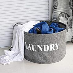 x 9.8 Inches D DOKEHOM Large Storage Baskets -15.7 Inches White//Grey, M - Cotton Rope Basket Woven Baby Laundry Basket with Handle for Diaper Toy Cute Neutral Home Decor H