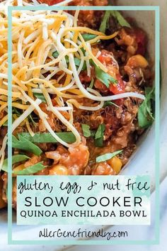 Making a quick dinner recipe for the whole family in my crockpot is my favorite! And when it's a healthy and easy recipe that serves as a main dish, what more could I want? Simply throw all of the gluten-free ingredients in your slow cooker for a fast, tasty meal that's both vegan & vegetarian. This quinoa enchilada bowl is even delicious leftover and for meal prep! #spicy #mexicanrecipe #butternutsquash #cilantro #beans #tacos #fixitandforgetit |corn| |black beans| |simple recipe| Best Gluten Free Recipes, Good Healthy Recipes, Delicious Vegan Recipes, Slow Cooker Quinoa, Slow Cooker Recipes, Sin Gluten, Mexican Food Recipes, Real Food Recipes, Quick Dinner Recipes