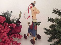 Giraffe on Wheels Christmas Tree Ornament Antique by Holiday365
