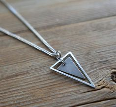 """Men Necklace - Men Silver Necklace - Men Geometric Necklace - Men Jewelry - Boyfriend Gift - Husband Gift - Guys Necklace - Vegan Jewelry  The simple and beautiful necklace features blackend silver plated chain with a triangle pendant.  Length: 25"""" (65cm). $35"""