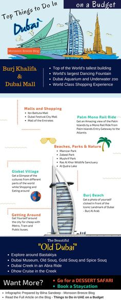 Top things to do in Dubai Infographic - Read our complete article on Things to do in UAE on a Budget