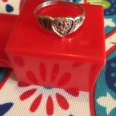 Sterling Heart Ring Silver filagree work. Size 7.5-8 Jewelry Rings