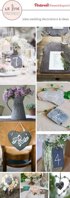 Slate wedding decorations could include slate place cards, table numbers, signs, jugs & more - inspiration board put together by www.theweddingofmydreams.co.uk @theweddingofmydreams