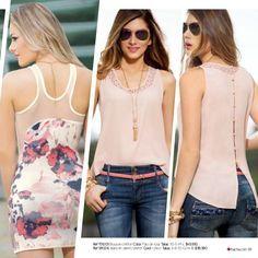 Ref 151053 Blusa en chiffon crepe Color: Rosa Tallas: XS-S-M-L $59.990 Ref 181005 Jeans en denim stretch Color: Único Tall...