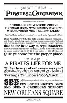 Pirates of the Caribbean, ride at Disney World, fonts Disney Rides, Disney Style, Disney Love, Disney Parks, Walt Disney, Disney Cruise, Disney Posters, Disney Quotes, Disney Scrapbook Pages